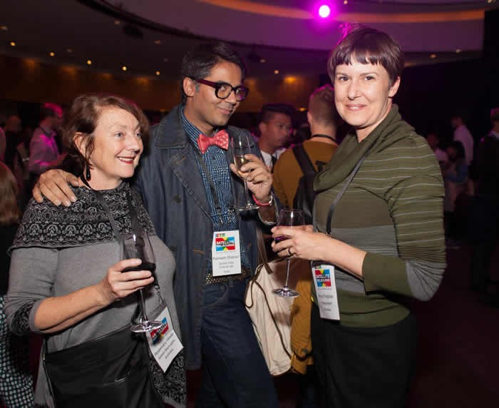 Rosemary Hinde with Parmesh and Anna Tregloan at the IETM opening reception