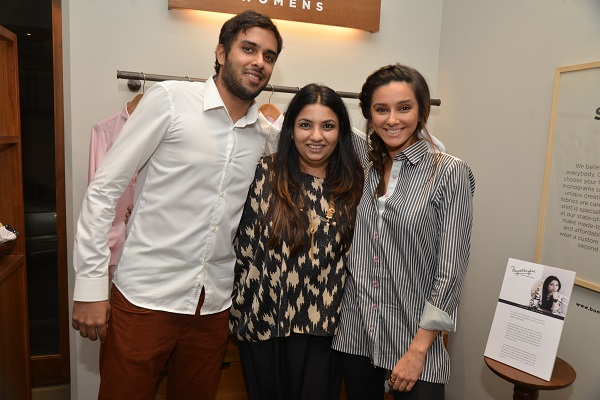 Akshay Narvekar, Payal Singhal with Shibani Dandekar dressed in the latter's creation at the launch of Bombay Shirt Company's latest collection