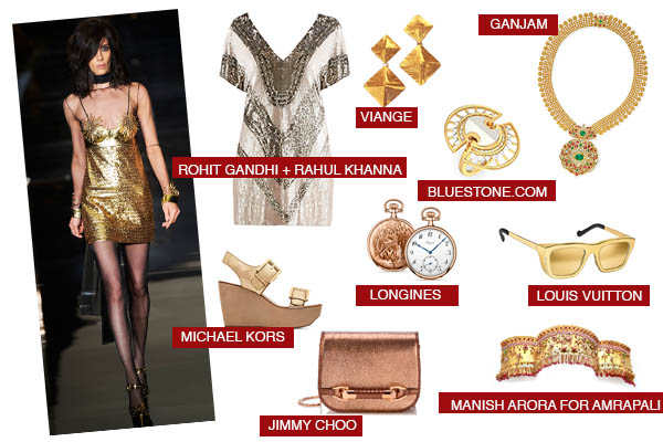Midas gold jewellery fashion runway trend jimmy choo bags louis vuitton tom ford logines michael kors