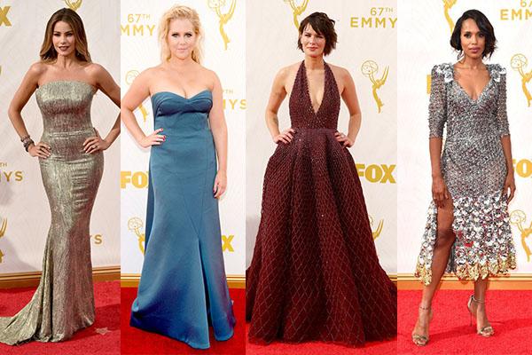 Sofia Vergara, Lena Headey, Amy Schumer, Kerry Washington, 2015, 67th Annual Primetime Emmy Awards, red carpet, fashion, actress, celebrity, television