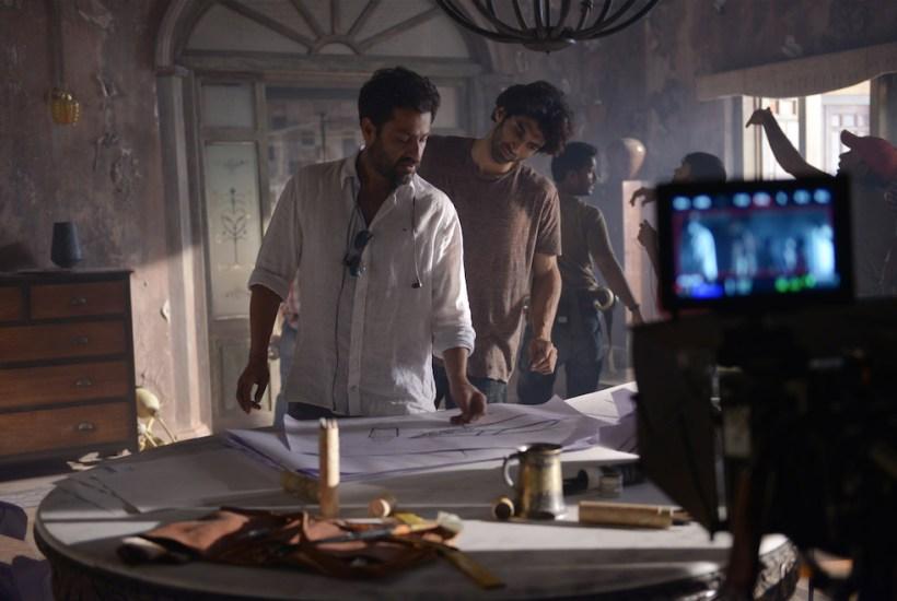 Abhishek Kapoor and Aditya Roy Kapoor on the sets of Fitoor