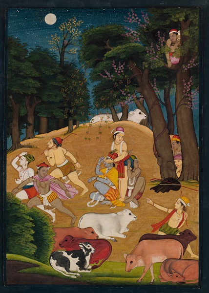 Hide-and-Seek: Krishna Playing a Game with the Gopas (Cowherds)
