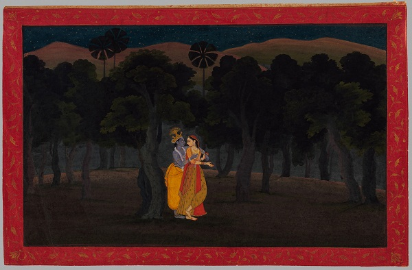 The Lovers Radha and Krishna in a Palm Grove