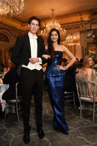 Ananya Panday in Gaultier Paris and Payal New York jewellery with her cavalier HSH Prince Philip d'Arenberg