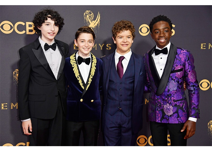 Fashion, Featured, Online Exclusive, Red Carpet, Style, Finn Wolfhard in Prada, Noah Schnapp in Balmain, Gaten Matarazzo in Ted Baker, Caleb McLaughlin in Garçon Couture at the Golden Globe Awards