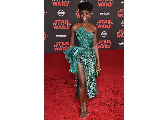 """Fashion, Featured, Online Exclusive, Red Carpet, Style, Lupita Nyong'o in Halpern at the """"Star Wars – The Last Jedi"""" LA Premiere"""