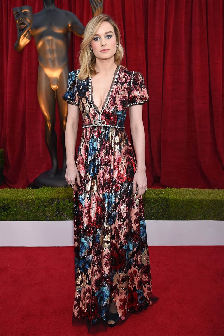Brie Larson in Gucci, 2018, 24th Annual Screen Actors Guild Awards, Fashion, Featured, Online Exclusive, Red Carpet, SAG Awards, Screen Actors Guild Awards, Style
