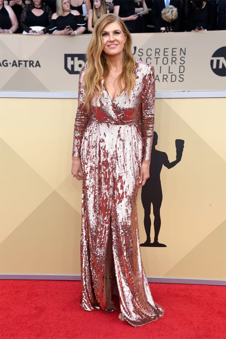 Connie Britton, Elisabetta Franchi, 2018, 24th Annual Screen Actors Guild Awards, Fashion, Featured, Online Exclusive, Red Carpet, SAG Awards, Screen Actors Guild Awards, Style
