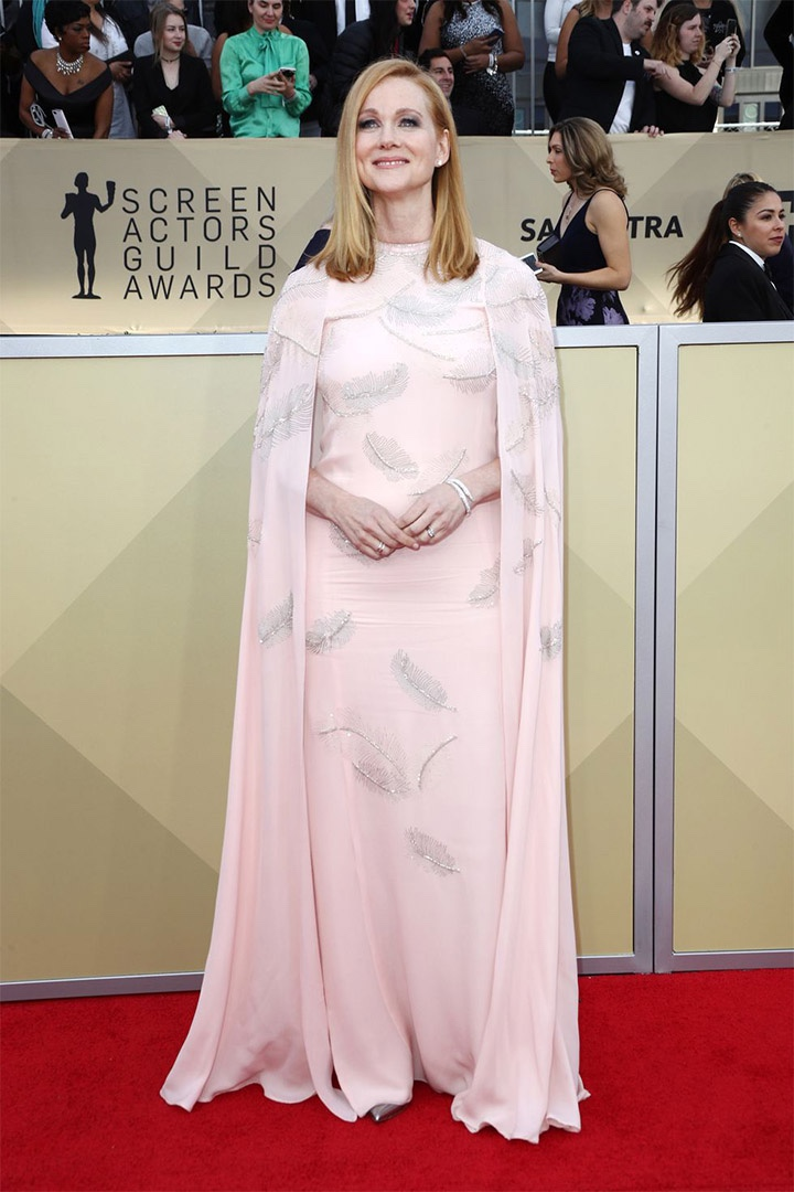 Laura Linney, J. Mendel, 2018, 24th Annual Screen Actors Guild Awards, Fashion, Featured, Online Exclusive, Red Carpet, SAG Awards, Screen Actors Guild Awards, Style