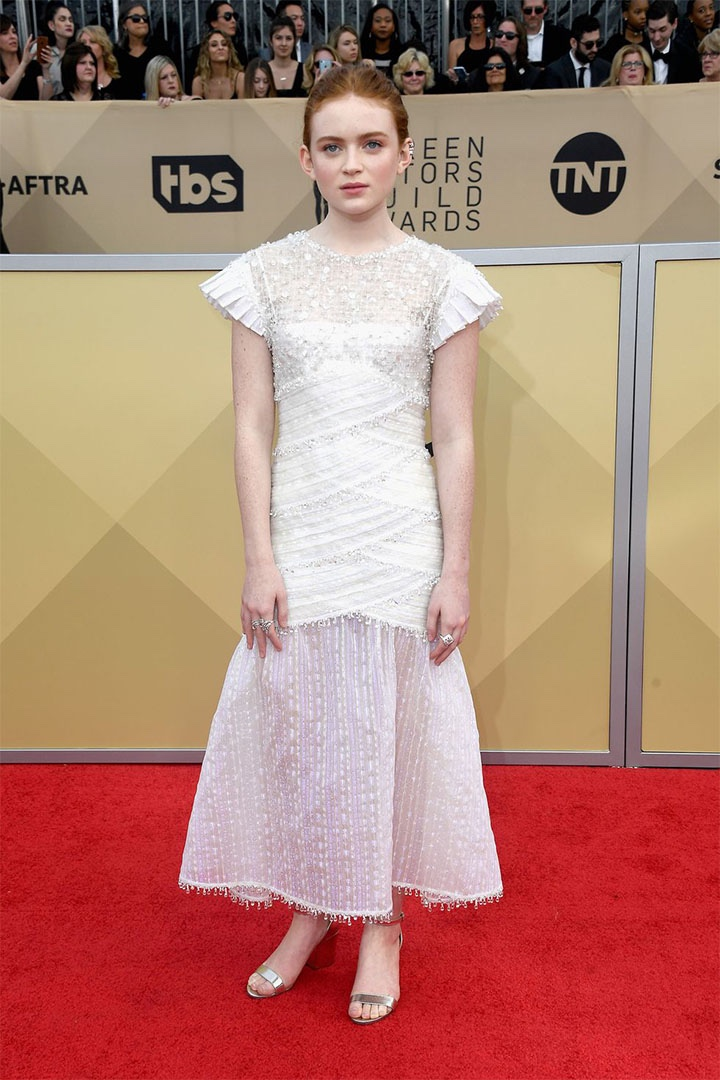 Sadie Sink, Chanel, 2018, 24th Annual Screen Actors Guild Awards, Fashion, Featured, Online Exclusive, Red Carpet, SAG Awards, Screen Actors Guild Awards, Style
