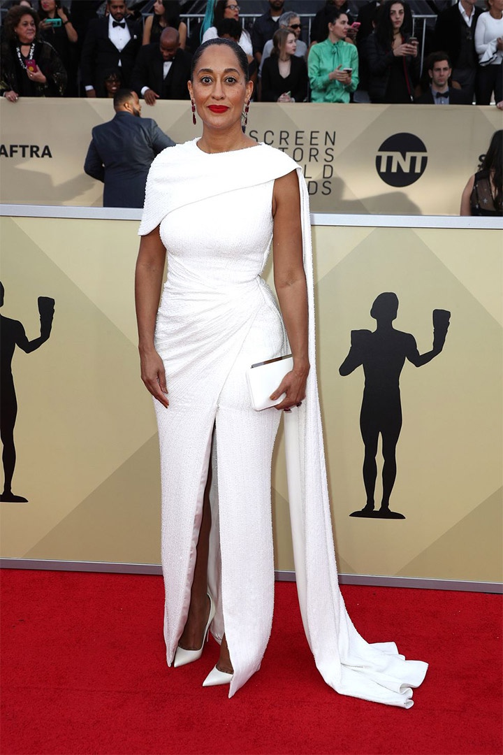 Tracee Ellis Ross, Ralph & Russo Couture, 2018, 24th Annual Screen Actors Guild Awards, Fashion, Featured, Online Exclusive, Red Carpet, SAG Awards, Screen Actors Guild Awards, Style