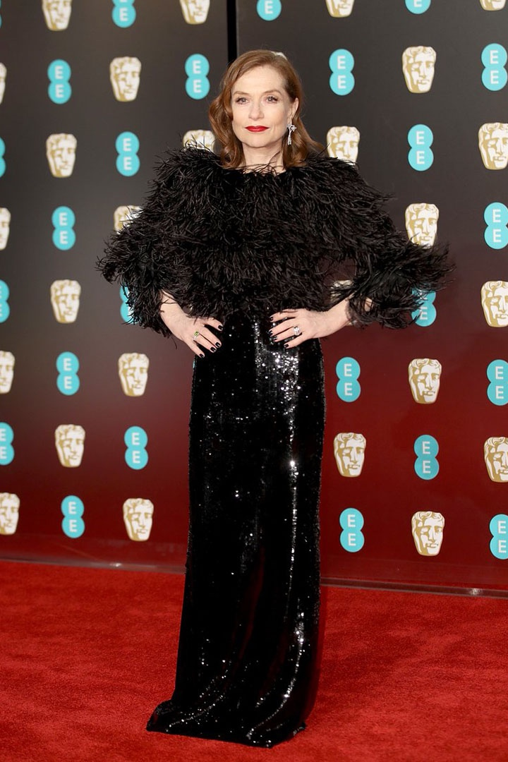 Isabelle Huppert, Armani Privé, Awards Show, BAFTA, BAFTAs 2018, Black, British Academy Film Awards, Cinema, Entertainment, Fashion, Featured, Film, Hollywood, Movies, Online Exclusive, Style, Time's Up