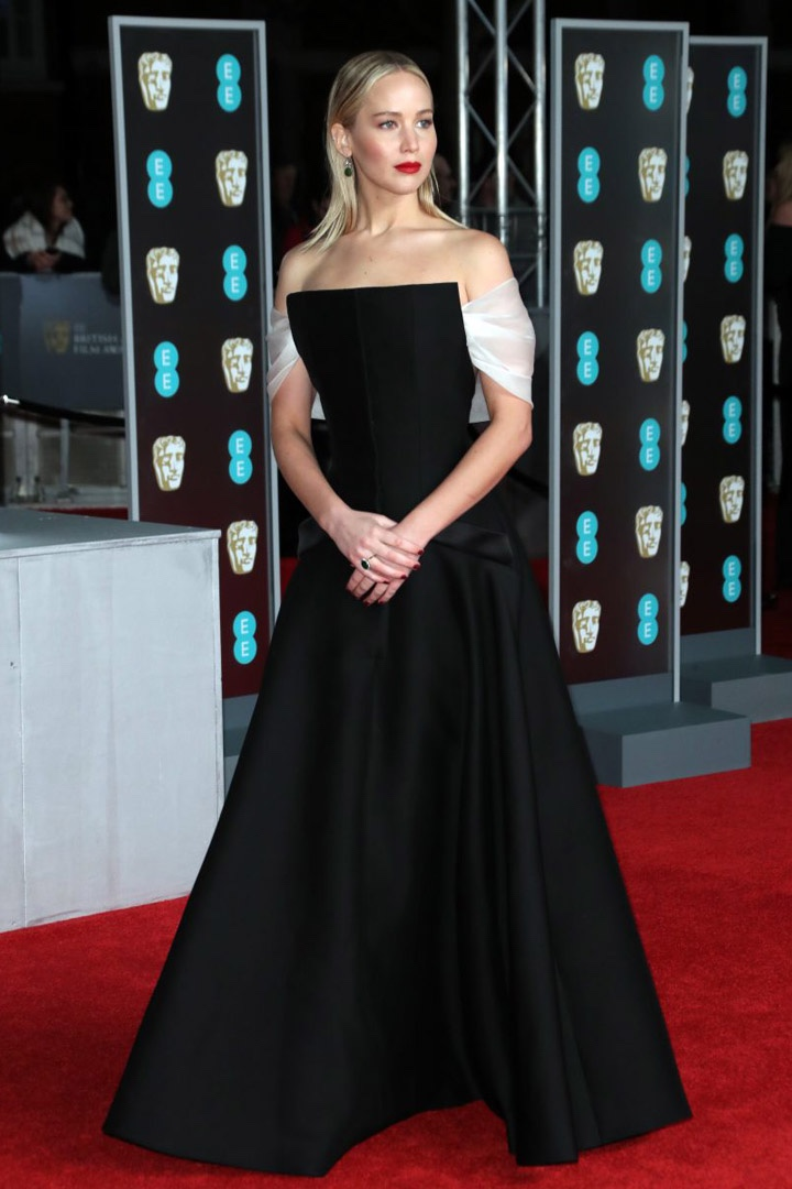 Jennifer Lawrence, Christian Dior, Awards Show, BAFTA, BAFTAs 2018, Black, British Academy Film Awards, Cinema, Entertainment, Fashion, Featured, Film, Hollywood, Movies, Online Exclusive, Style, Time's Up