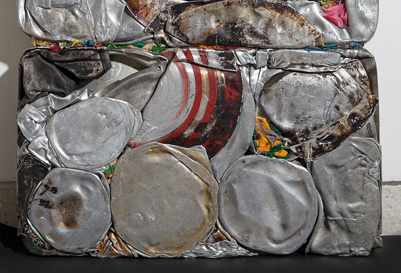 Subodh Gupta, Orion, 2016, Aluminium, fabric, resin; 21.6 x 25.6 x 3.5 in, Frieze New York