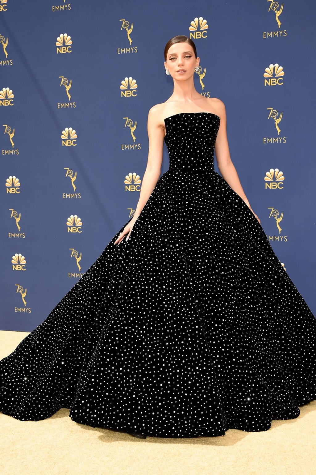 Angela Sarafyan in Christian Siriano, 70th Annual Primetime Emmy Awards, Betty White, Emmys 2018, Fashion, Featured, Glenn Weiss, Hannah Gadsby, highlights, Jav Svendsen, Online Exclusive, Style, The Marvellous Mrs. Maisel, top moments, We solved it, Diversity