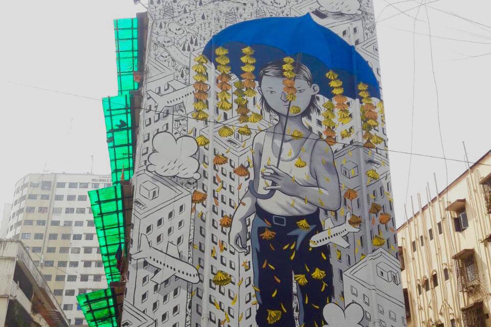 Art, Featured, Francesco Camillo Giorgino, Grafitti, Italian artist, Mahim East, Millo, Mumbai, Mural, Never Give Up, Online Exclusive, St+art Festival 2018, St+Art India, St+art India Foundation, St+art Mumbai