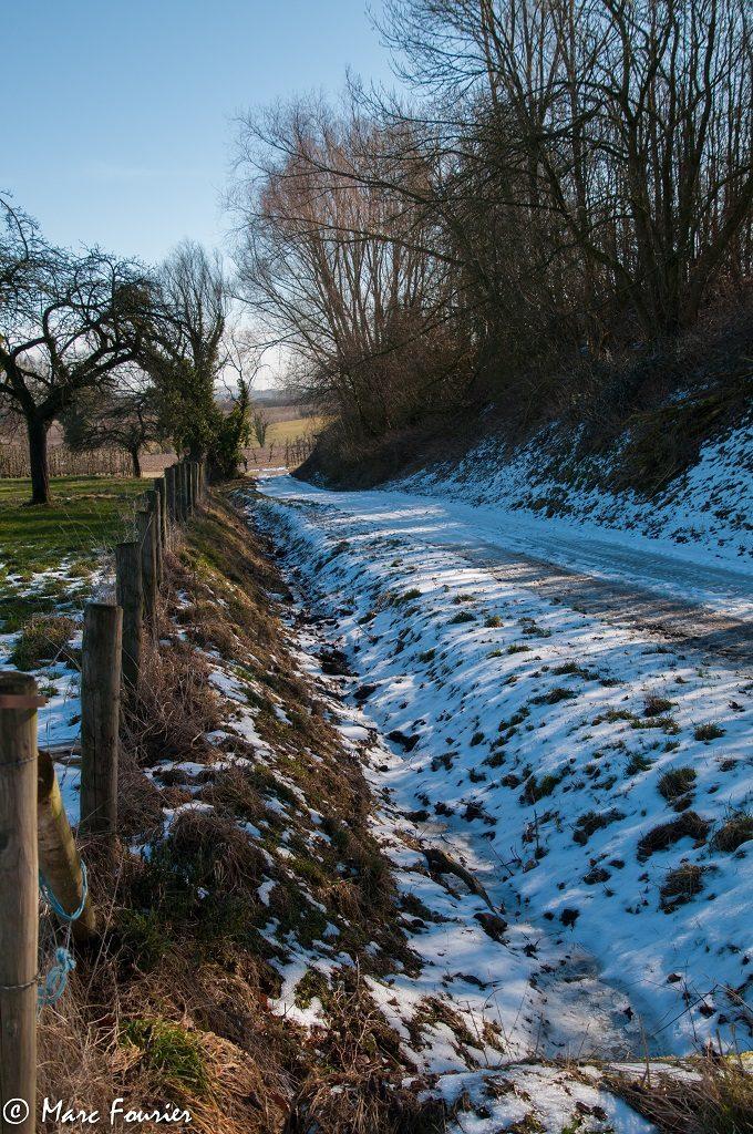ijs en sneeuw op het wandelpad