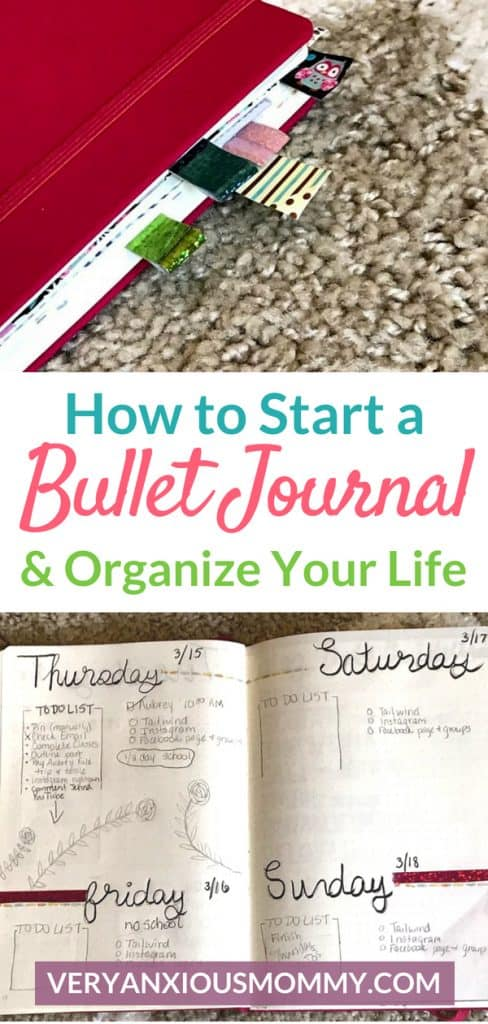 How to Start a Bullet Journal and Organize Your Life. Bullet journal ideas and bullet journal layout. bullet jounal weekly spread. bullet journaling for beginners. planning and organizing with bullet journals. how to start a bullet journal.