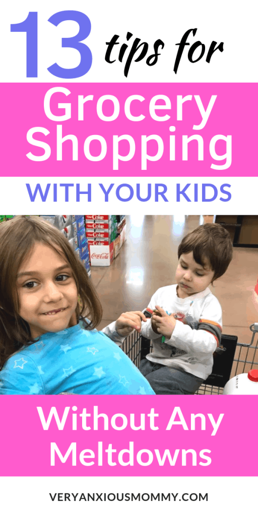13 Tips for Grocery Shopping with Kids without any Meltdowns. tantrum free grocery trip, grocery shopping kids, grocery shopping with toddler.