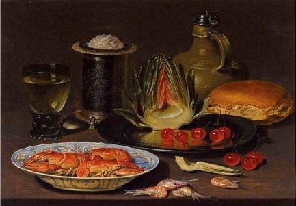 Alcachofa, cangrejos y cerezas. Colección privada.