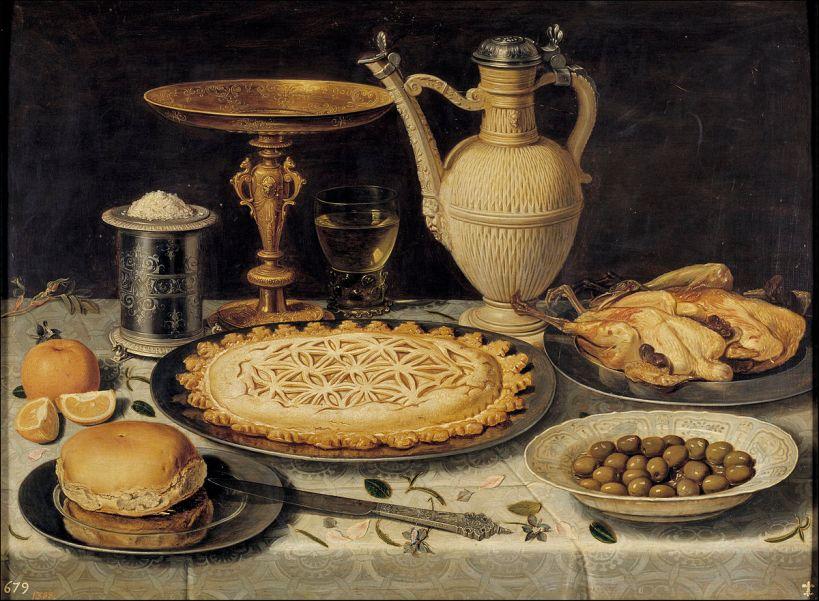 Naranja, aceitunas y pastel. Museo del Prado.