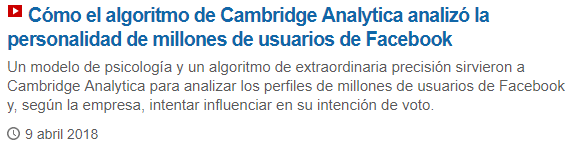 Noticia: El algoritmo de Cambridge Analytica