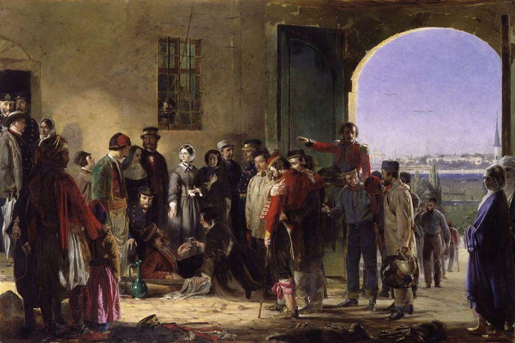 Florence Nightingale recibiendo a los heridos en el hospital de Scutari. Cuadro de Jerry Barret.