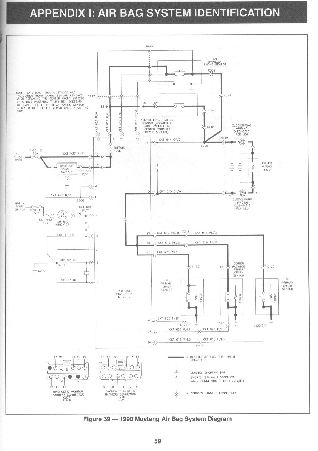 hight resolution of schematic of the air bag system for the 1990 mustang