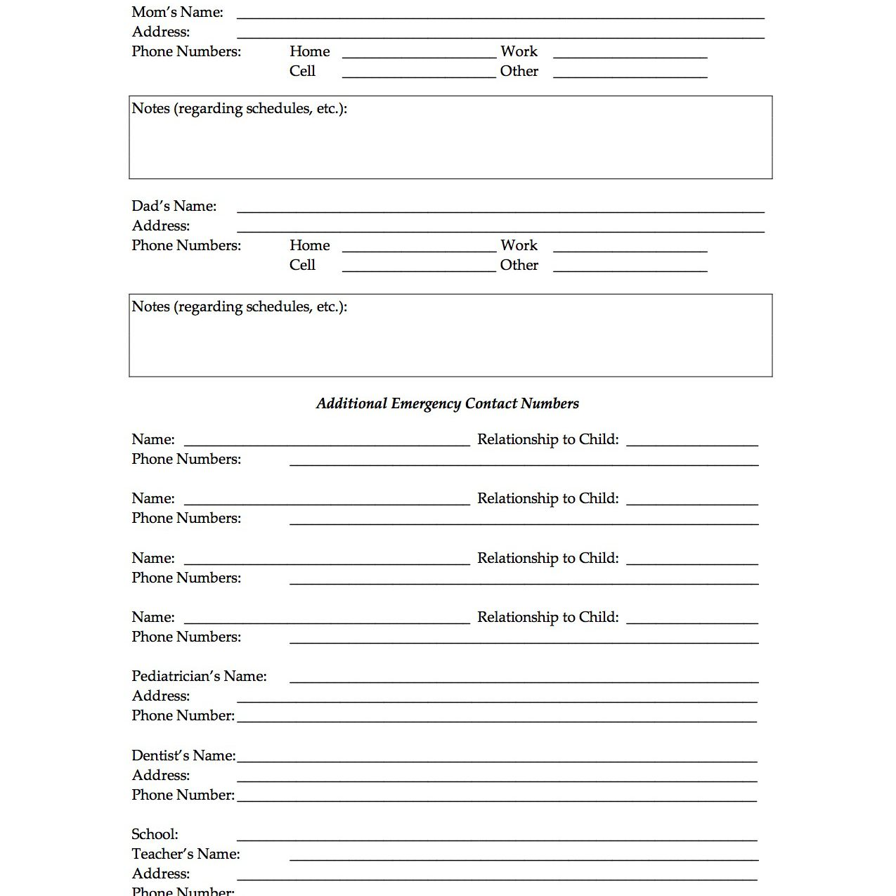 Free Printable Forms For Single Parents