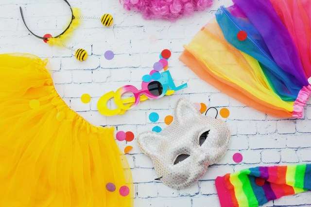 carnival party items in white background.Flat lay