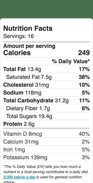Nutritional Information for Peach Raspberry Crumble Cake. Serves 16. Recipe and ideas at diginwithdana.com