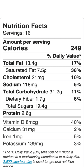 Nutritional Information for Peach Raspberry Crumble Cake. Serves 16. Recipe and ideas at diginwithdana.com