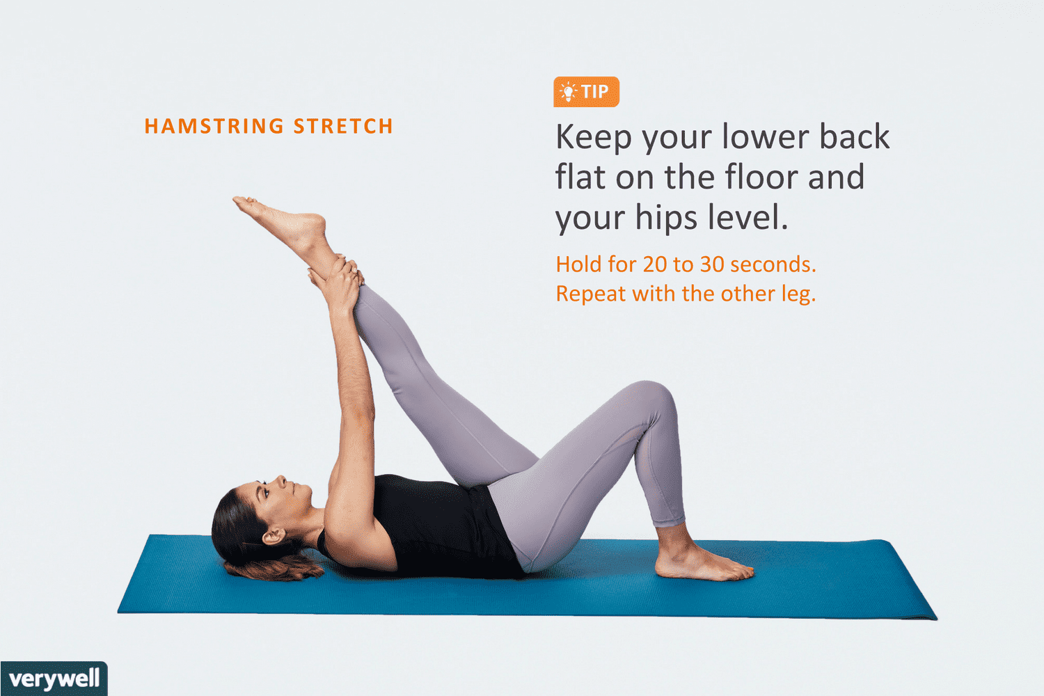 hight resolution of woman doing hamstring stretch lying down