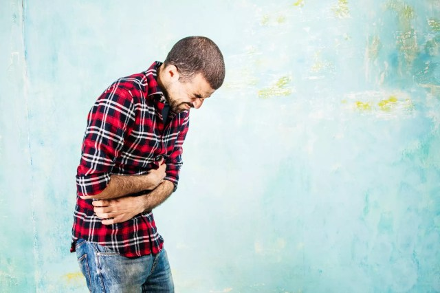 man with severe stomach pain