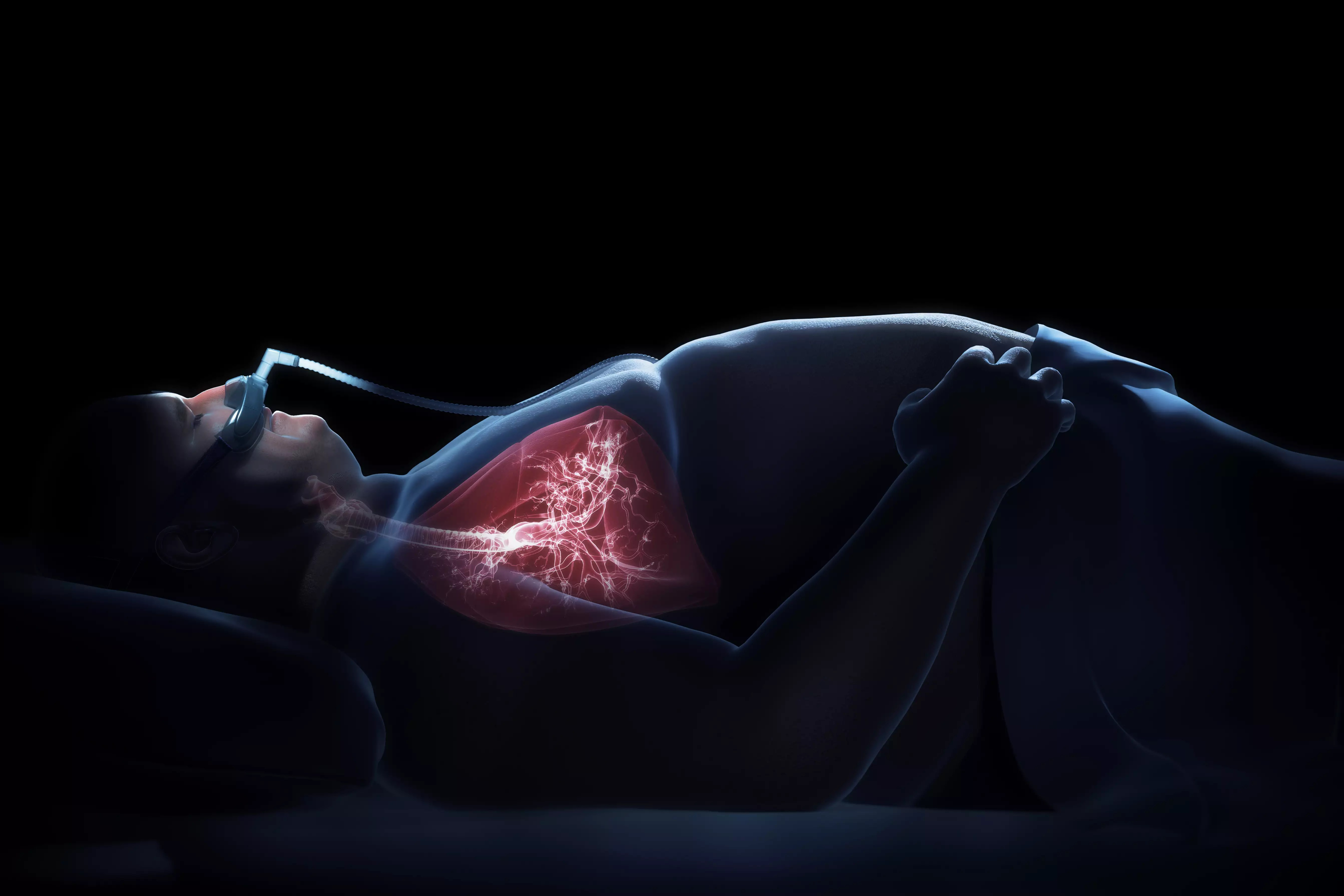 A man treats his sleep apnea with CPAP therapy to reduce daytime sleepiness