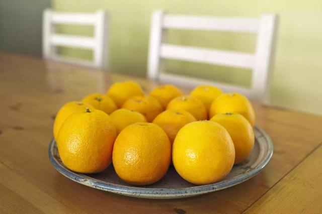 Navel Oranges on rustic pine wood table