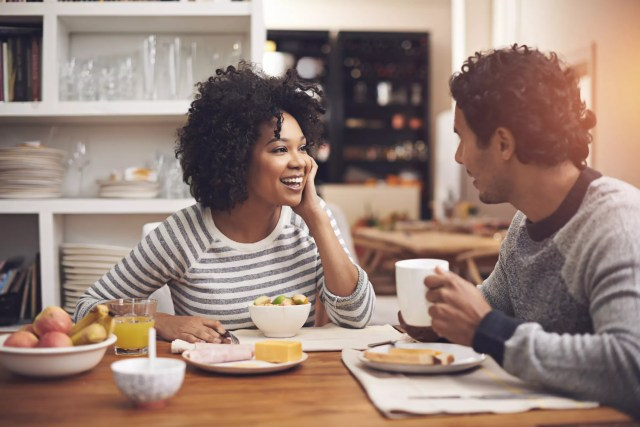 Couple having breakfast together.