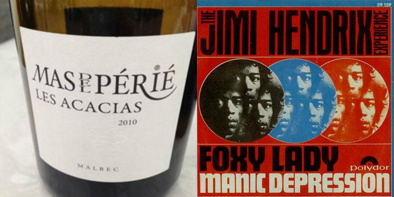 Accord vin musique - Les Acacias – Mas Del Périé - Foxy Lady – Jimi Hendrix