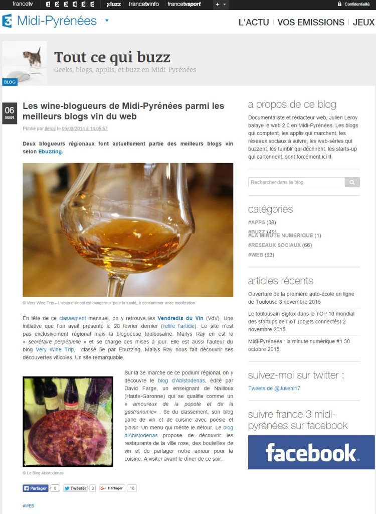 Tout ce qui buzz, le blog de France 3 Midi-Pyrénées. Mars 2014