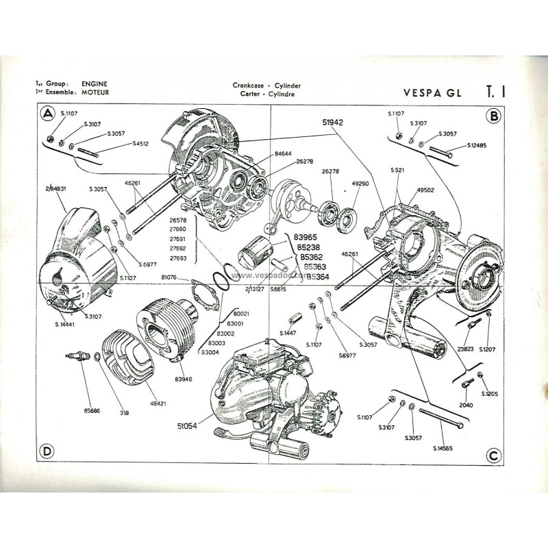 Catalogue de pièces détachées Scooter Vespa 150 GL mod