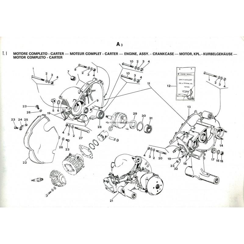 Catalogue de pièces détachées Scooter Vespa PK à Vitesses