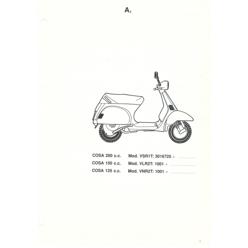 Catalogue of Spare Parts Scooter Vespa COSA 1992 / 1995
