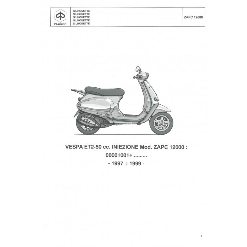 Catalogo de piezas de repuesto Scooter Vespa ET2, 50 cc