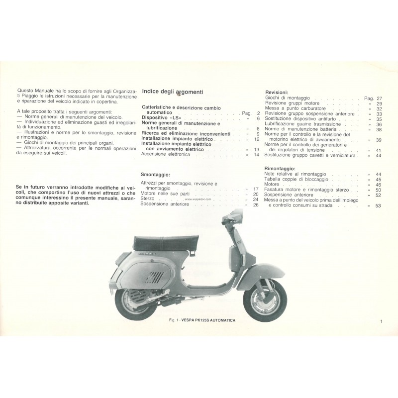 Workshop Manual Scooter Vespa PK Automatica, Vespa PK 125