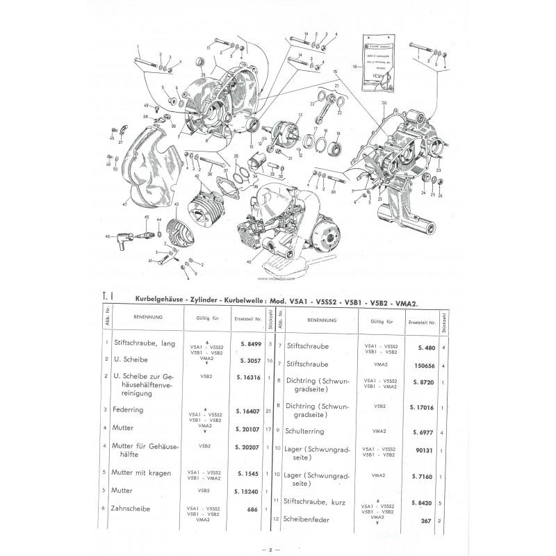 Catalogue de pièces détachées Scooter Vespa V5A1T, V5SS2T