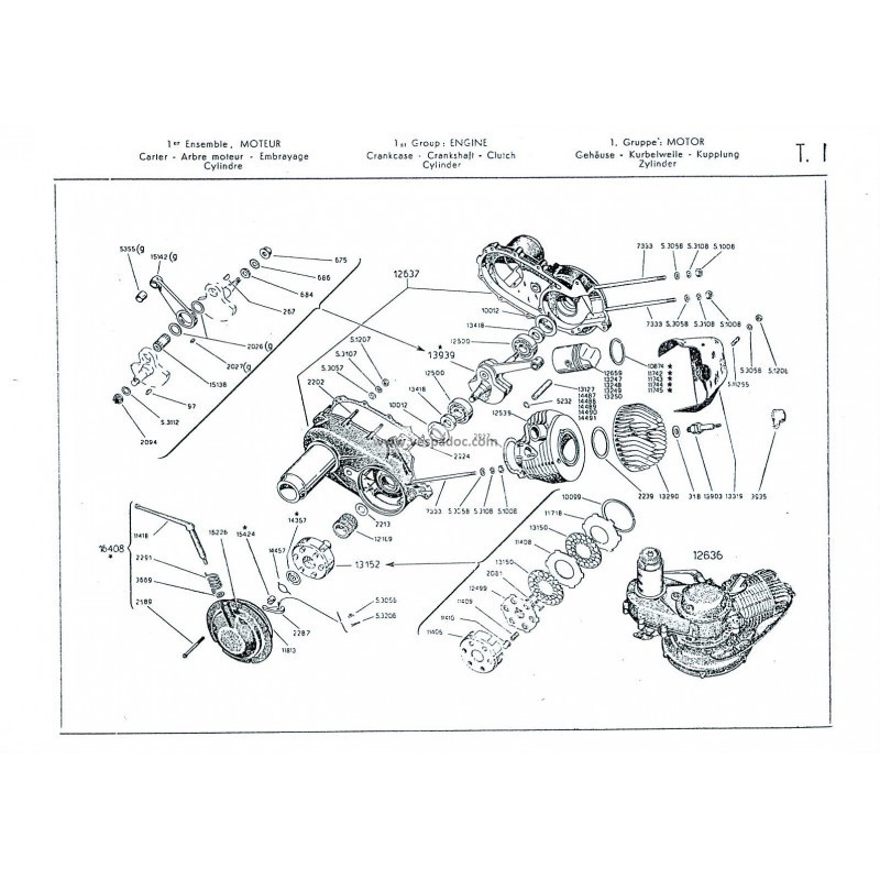 Catalogo de piezas de repuesto Piaggio Ape A 125 de 1955