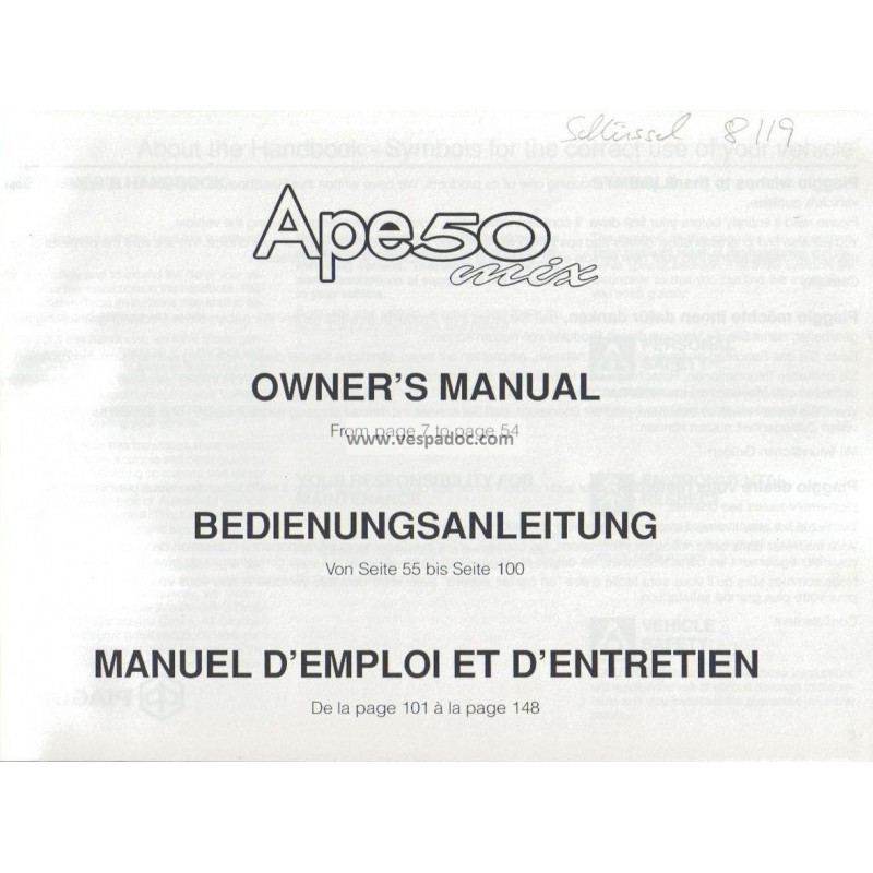 Manuale de Uso e Manutenzione Piaggio Ape 50 MIX mod. Zapc