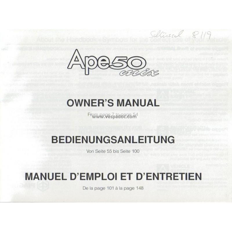 Operation and Maintenance Piaggio Ape 50 MIX mod. Zapc