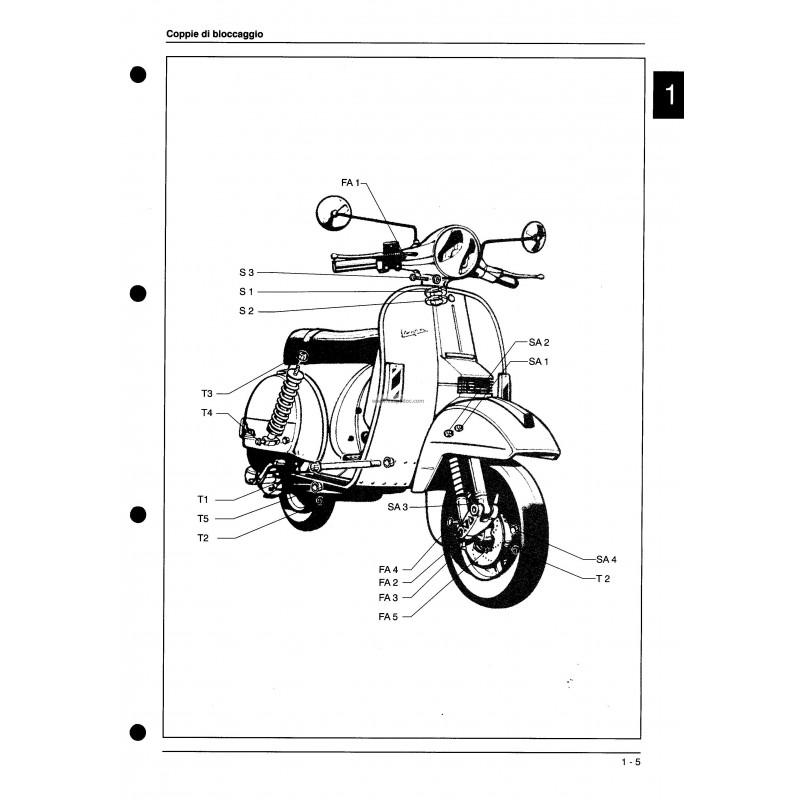 Workshop Manual Scooter Vespa PX Disc Brake 1997,Italian