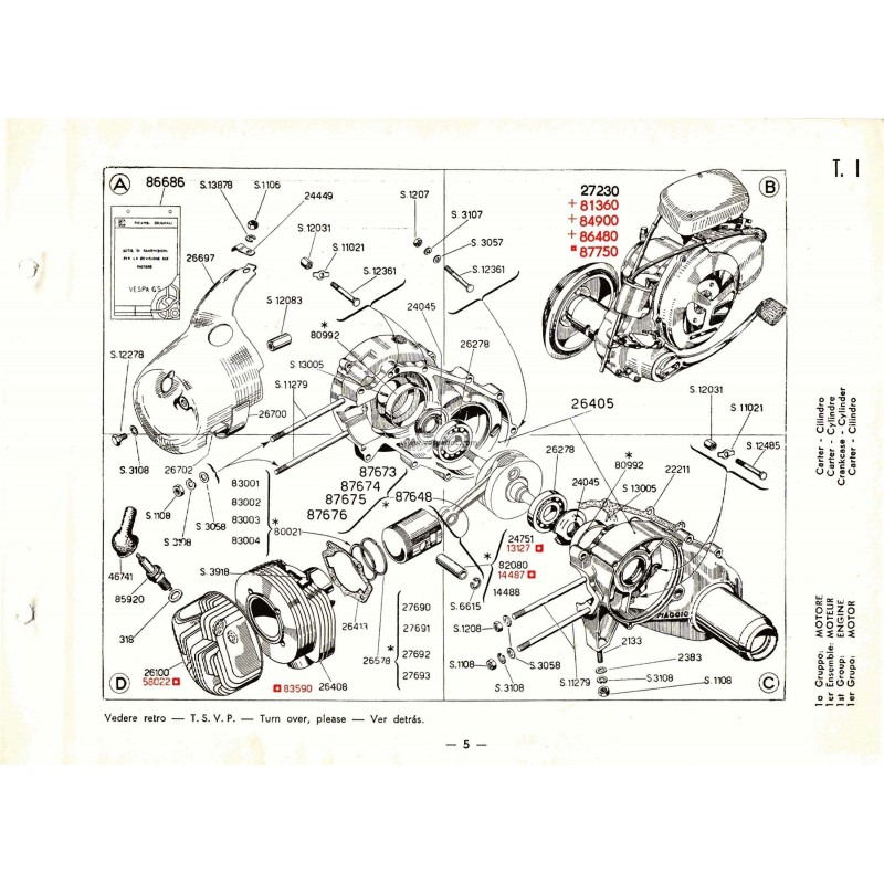 Catalogue of Spare Parts Scooter Vespa 150 GS mod. VS2T